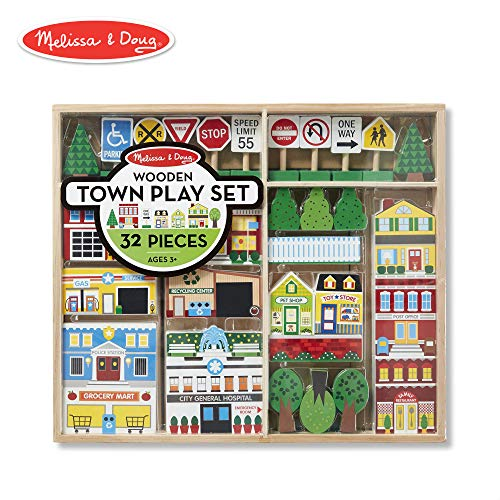 "Melissa & Doug Wooden Town Play Set, Vehicles, Wooden Streetscape, Sturdy Wooden Construction, Storage Tray, 32 Pieces, 17"" H x 14.6"" W x 2.2"" L from Melissa & Doug"