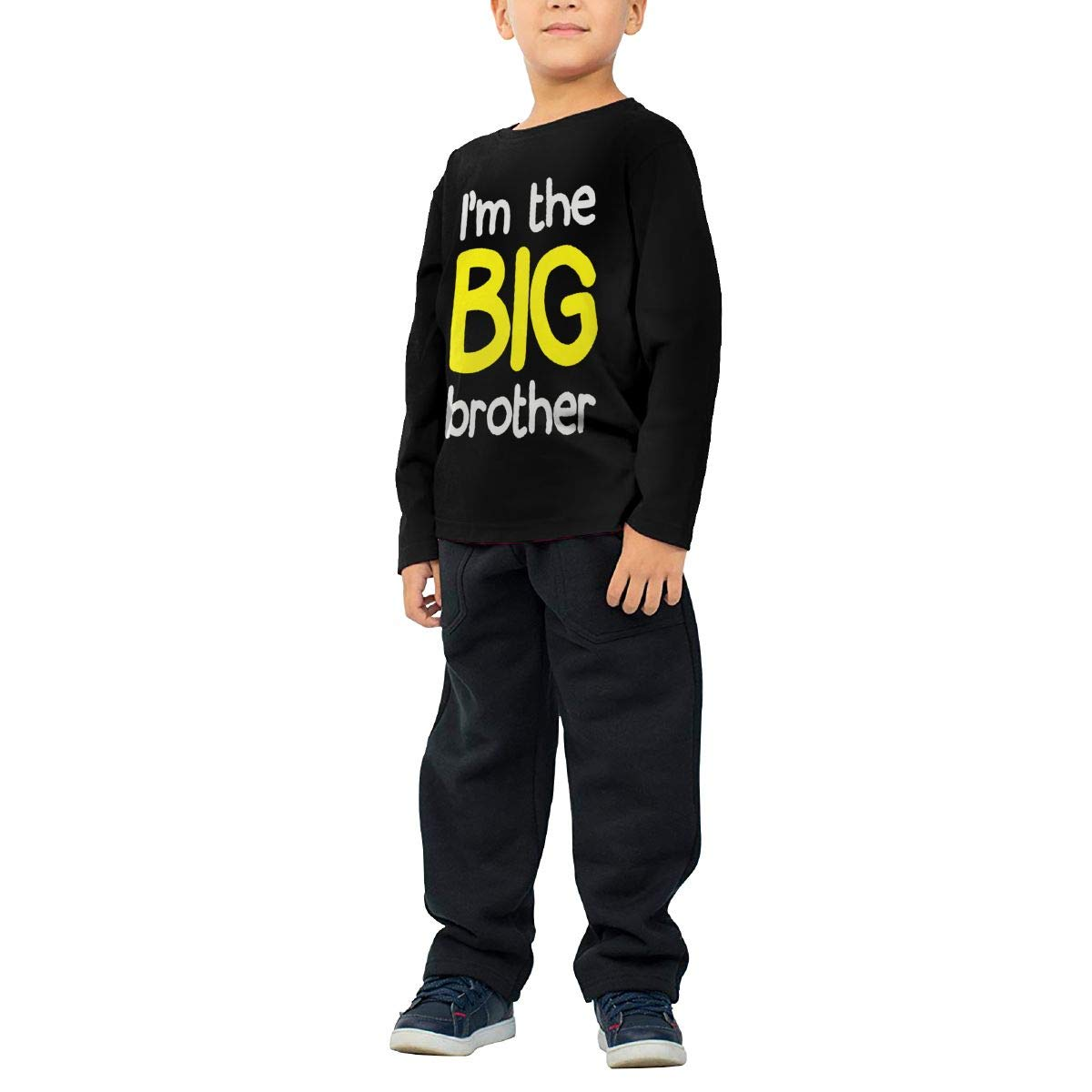 Im The Big Brother Childrens Cotton Black Long Sleeve Round Neck Boys Or Girls Tee Shirt