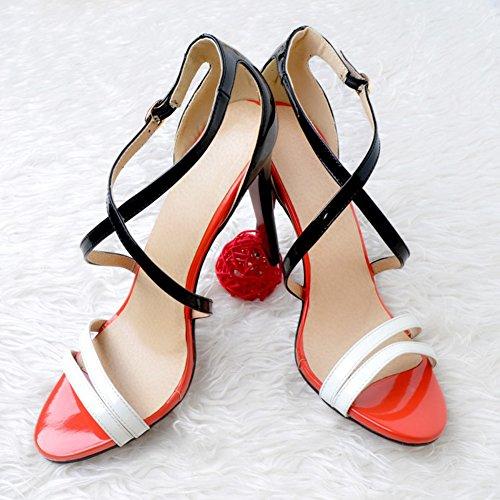 Kolnoo Handmade Heel Fashion High Strap Leather Womens Black Patchwork Crosscriss Buckle Sandals Errfzq