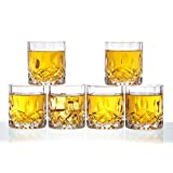 Diy Family Store® Whiskey Glasses Set of 6,Czech Crystal Glass,Glass Cocktail Liquor or Bourbon Tumblers,Lead free,Unique, Dishwasher Safe,Capacity: 10.2 oz
