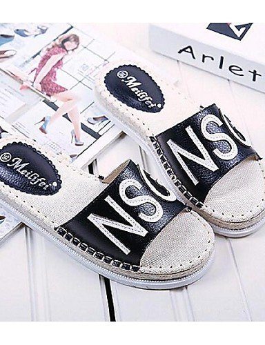 ShangYi Womens Shoes Leather Flat Heel Open Toe Sandals Casual Black/White White