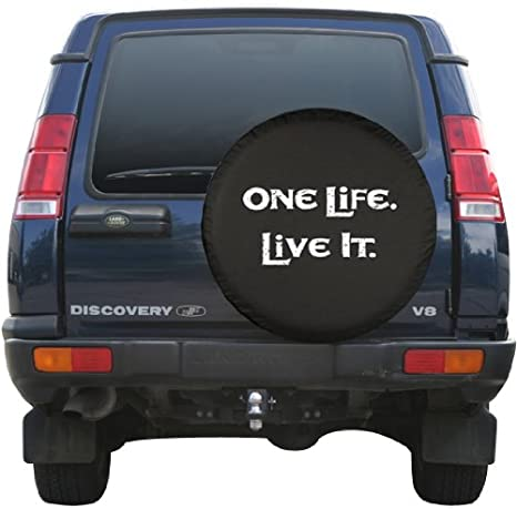 Black Denim Vinyl 30 One Life Live It - White Print Made in the USA Boomerang Enterprises Inc 30OneLife Spare Tire Cover -