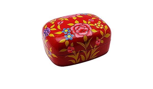 Mano floral pintado la baratija de la joyería caja de regalo de papel cartón piedra Cachemira: Amazon.es: Hogar