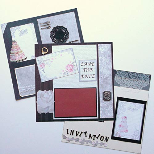 Set of 3 Handmade Wedding Engagement Scrapbook Pages Premade Save the Date Invitation Menu