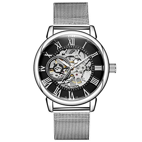 Sweetbless Wristwatch Men's Royal Classic Roman Index Hand-Wind Mechanical Watch (Black dial Silver Band)