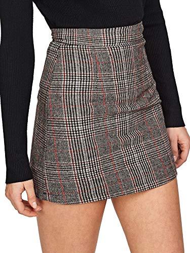 Floerns Women's Plaid High Waist Bodycon Mini Skirt Grey-1 S (Plaid Mini Skirt Sexy)
