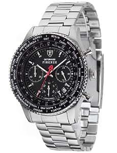 Detomaso Firenze - Reloj de cuarzo para hombres, con correa de acero inoxidable de color plateado, esfera negra