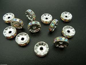 12 piedras preciosas checas de 10 mm chapadas en plata AB, ii 88