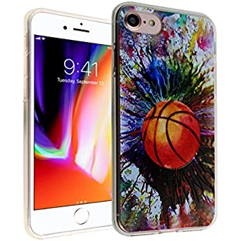Basketball iPhone 8 Case, iPhone 7 Cover, IMAGITOUCH Anti-Scratch Shock Proof Basketball Paint Splash Case Soft Touch Slim Fit Flexible TPU Bumper Case with Raised Bezels for iPhone 8/7