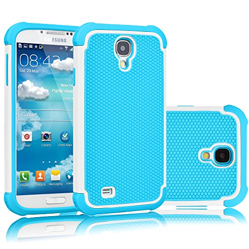 Tekcoo for Galaxy S4 Case, [Tmajor Series] [Baby Blue] Shock Absorbing Hybrid Rubber Plastic Impact Defender Rugged Slim Hard Case Cover Shell for Samsung Galaxy S4 S IV I9500 GS4 All Carriers