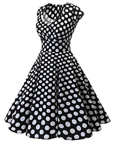 En Años Vintage Black Vestido Corto Escote Bbonlinedress Mujer Pico Retro Bdot 50 White ZRITF8yqO