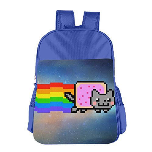Nyan Cat Costume (JXMD Custom Nyan Cat Rainbow Png Kids School Bagpack For 4-15 Years Old RoyalBlue)