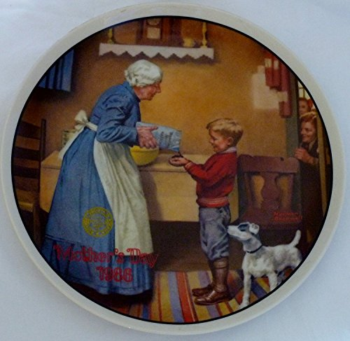 Edwin M Knowles Norman Rockwell Mother's Day 1986 The Pantry Raid Eleventh In An Annual Series Decorative -