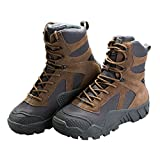 FREE SOLDIER Men's Boots All Terrain Hiking Shoes Suede Leather Winter Tactical Boots (Brown, 10.5)