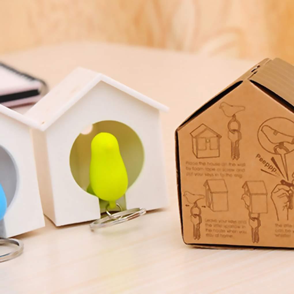 beIilan 2pcs Sparrow Portachiavi Fischietti Portachiavi Bird House Nest Portachiavi Decorazione della casa Colore Casuale