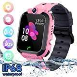 SZBXD Kids Waterproof Smart Watch Phone, LBS/GPS Tracker Touchscreen Smartwatch Games SOS Alarm Clock Camera Smart Watch Christmas Birthday Gifts for School Boy Girls (Pink)