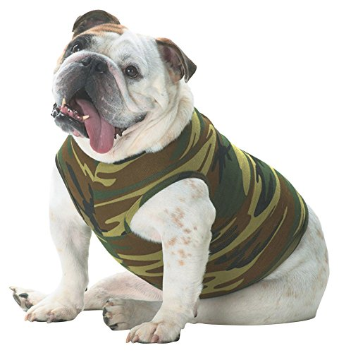 - Doggie Skins Baby Ribbed Binding Camouflage Tank Top, Green Woodland, Large