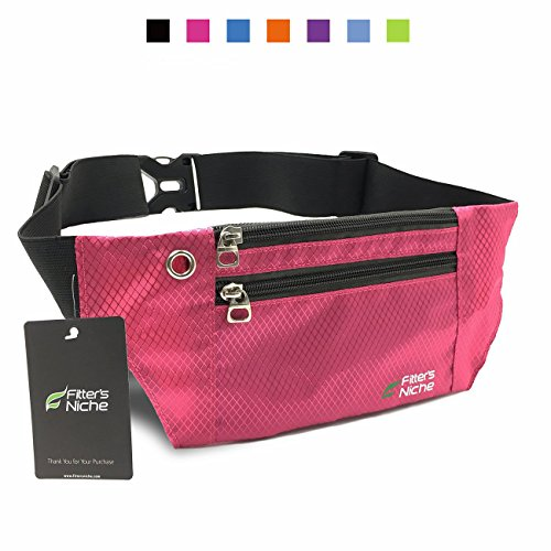 Fitter's Niche Running Sport Belt, Travel Buddy Money Belt Waist Fanny Packs, 3 Roomy Pockets Adjustable Elastic Waistband, Fit Phones Up To 6 inches, Ideal For Outdoor Travel Cycling Hiking (Fit 3 Hidden Elastic)