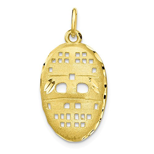 10k Yellow Gold Hockey Mask Pendant Charm Necklace Sport Fine Jewelry Gifts For Women For - Gold Charm Goalie Hockey