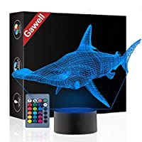 Gawell Hammerhead Shark 3D Illusion Birthday Gift Lamp, 16 Colors Changing Touch Switch Xmas Decoration Night Light & Remote Control Toy for Children