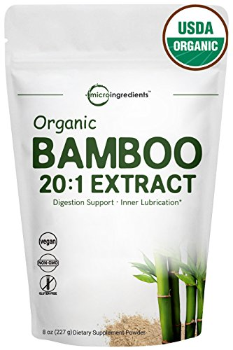 Organic Bamboo Extract Powder, 8 Ounce, Powerfully Supports Healthy Skin, Nail, Hair, Joints and Bones. Rich in Minerals and Essential Amino Acids, Non-GMO and Vegan ()