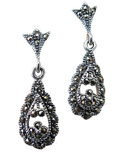 FaithOwl Lace Filigree Drop Marcasite 925 Sterling Silver Earrings (Lace Marcasite)