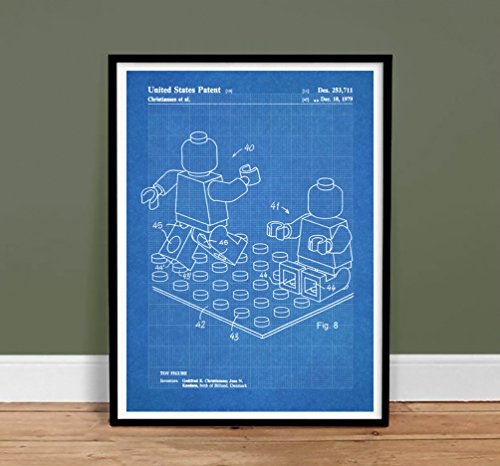 LEGO Minifigure Poster Toy Building Construction Blocks 1979 Patent Print MiniFig Gift Blueprint Isometric
