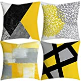 Alixyz 4 PC Pillow case Yellow Pillow Case Sofa Car Waist Throw Cushion Cover Home Decor (M, H)