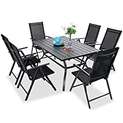 Garden and Outdoor PHI VILLA 7 pcs Patio Dining Set, 6 Outdoor Reclining Folding Sling Chair with Armrest & 1 Rectangle Patio Dining Table… patio dining sets