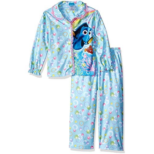 Finding Dory Nemo Little Girls Flannel Coat Style Pajamas (2T, Bubbles Blue) ()
