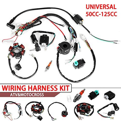 Everrich Quad Wire Harness Suitable-CDI Wire Harness Assembly Wiring Set- For 50cc 70cc 90cc 110cc 125cc Chinese ATV Electric Stator CDI Coil ATV Quad Bike Buggy Go Kart