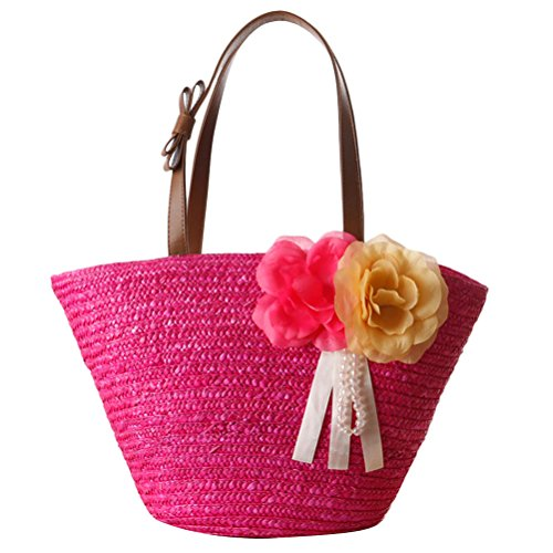Zhhlaixing Casual Pastoral Style Flowers Wrapped Woven Bags Beach Solid Color Bolsa hermosa especial for Womens Rose Red