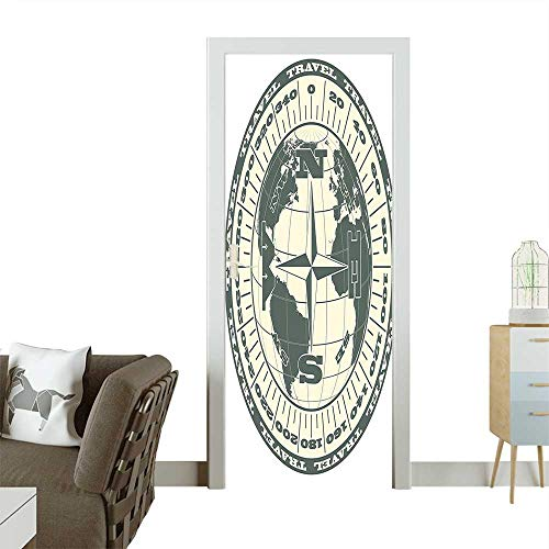 - Door Sticker Wall Decals Illustration of Globe with Scale Arrows Measurement Traveling Exploration Journey Green Easy to Peel and StickW17.1 x H78.7 INCH