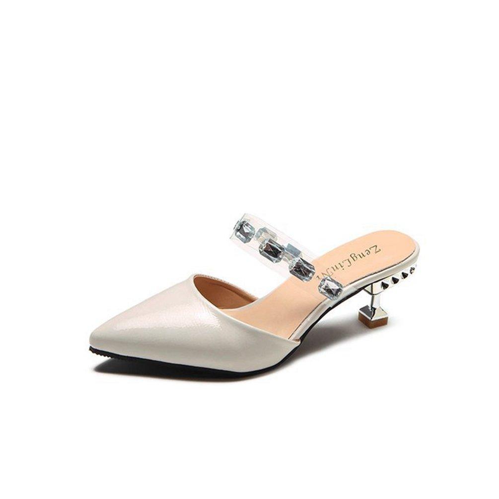 Frauen Einfache Spitze Zehe Mid Kitten Ferse Slide Sandalen Mode Slip auf Lazy Shoes  36 EU|Wei?