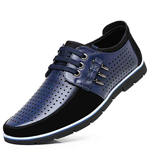 Fuxitoggo Derby confortevole Scava for Dimensione Shoes Lace up Tacco Casual fuori Lace up 42 Colore Blu Men EU Nero Driving nascosto BOq6Br