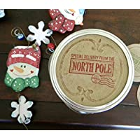From Santa, Mason Jar Labels, North Pole Tags, Canning Jar Stickers Labels, Christmas Gift Tags, Holiday Labels