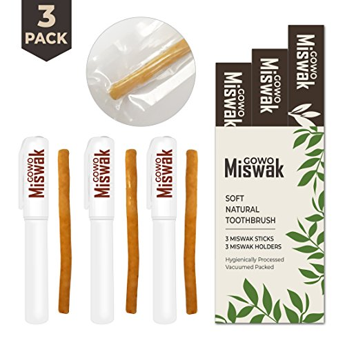 GOWO (3 Pack) Miswak Sticks and Holders - Natural Teeth Whitening Kit - No Regular Toothpaste Needed - Herbal Teeth Whitener and Breath Freshener - (3 x Sewak Natural Toothbrush and 3 (Herbal Breath Freshener)