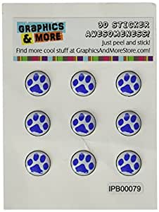 Graphics and More Paw Print Blue Home Button Stickers Fits Apple iPhone 4/4S/5/5C/5S, iPad, iPod Touch - Non-Retail Packaging - Clear