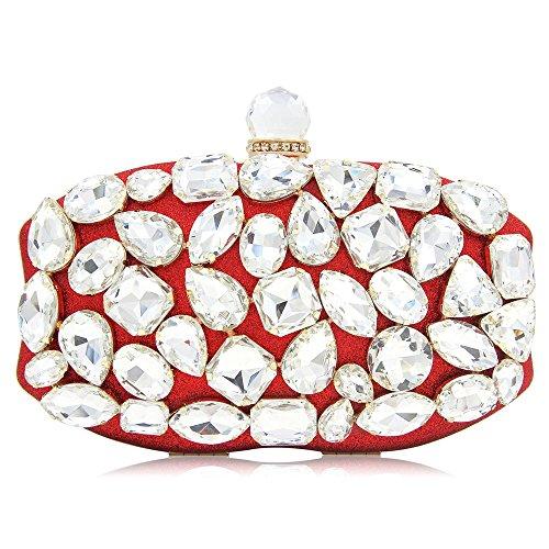 Hechos de Lujo Embrague Vestido de Boda de Diamantes Bolso de de de Noche de seora Bolso Lovely Mano Noche Fiesta Red a rabbit ETWqg81