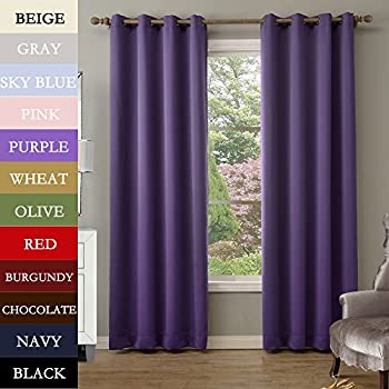 TWOPAGESreg Solid Antique Bronze Grommet Top Purple Blackout Curtains 52 W X 102