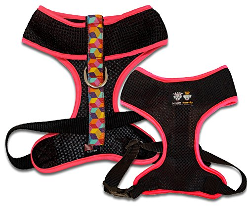BESSIE AND BARNIE Signature Air Comfort Mesh Luxury Black/Rainbow Blocks/Hot Pink Pet Dog Durable Adjustable Harness (Multiple Sizes) ()