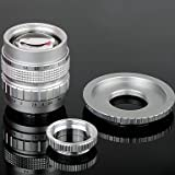 SS- 50mm F1.4 CCTV Lens C Mount + Macro Rings + C-NEX Adapter Ring Set for Sony NEX-5C NEX-7 etc - Silver , Black