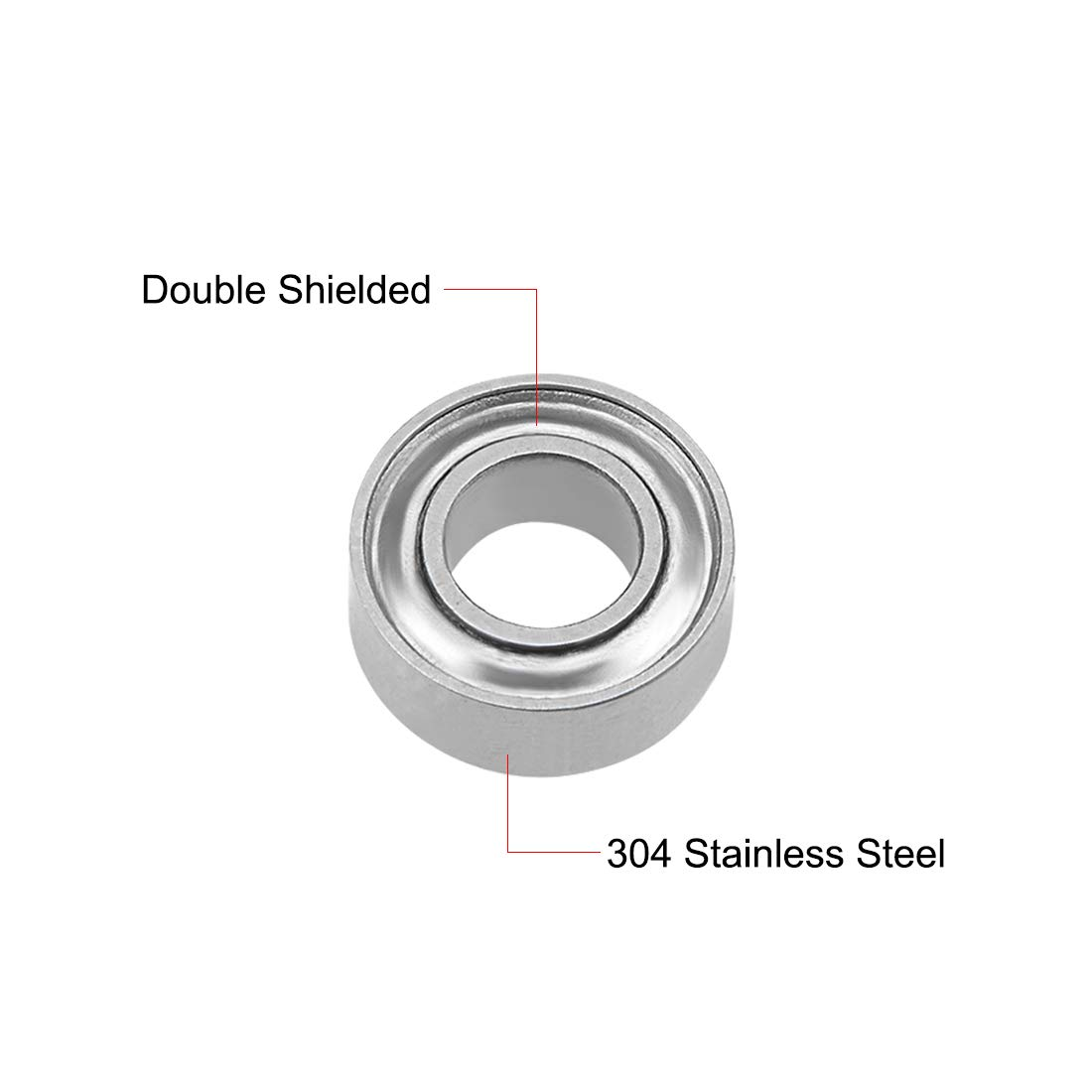 sourcing map SMR62ZZ Stainless Steel Ball Bearing 2x6x2.5mm Double Shielded MR62ZZ Bearings