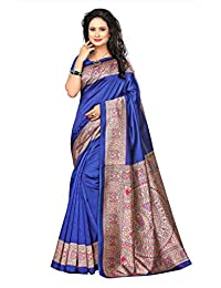 Shonaya Women`S Blue Colour Mysore Silk Printed Saree with Unstitched Blouse Piece
