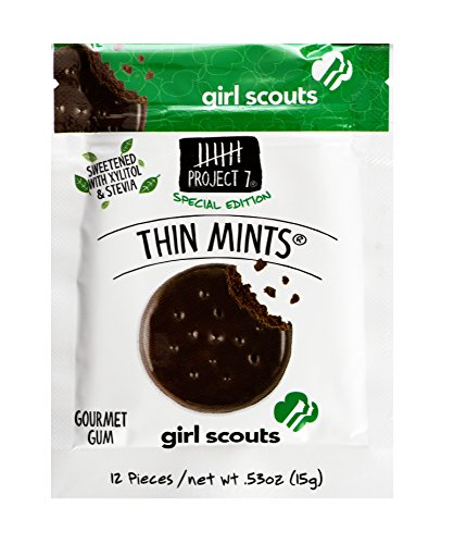 Project 7 Sugar Free Gum, Girl Scout Thin Mint, 12 Pouches, 144 Pieces Total