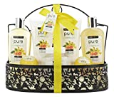 Spa Gift Basket! Beautiful Metal Bath Basket Gifts for Women with Lush Bath Bombs, Bubble Bath infused with Grapefruit Essential Oil! Natural Spa Baskets for Women with Bath Bombs Body Lotion and more