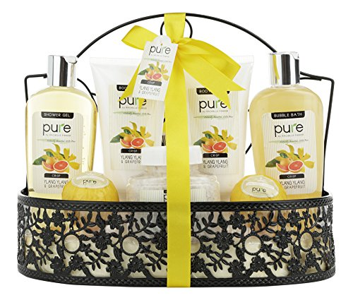 Spa Gift Basket By PURE! Beautiful Metal Bath Basket Gifts for Women with Lush Bath Bombs, Bubble Bath infused with Grapefruit Essential Oil!Natural Spa Baskets for Women Spa Basket Gift Bath Sets