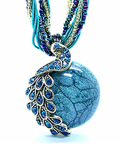 LIKEOY Vintage Bohemia Vivid Blue Peacock Pendant Necklace with Opal Crystal A3 (Vintage Plastic Necklace)