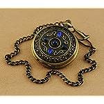 VIGOROSO Men's Vintage Noble Bronze Blue Stone Gold Skeleton Steampunk Mechanical Pocket Watch in Box 7