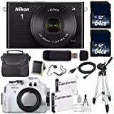 Nikon 1 J4 Mirrorless Digital Camera with 10-30mm Lens (Black) (International Model No Warranty) + Nikon WP-N3 Waterproof Housing + EN-EL22 Battery + 64GB SDXC Memory Card + 6AVE Bundle